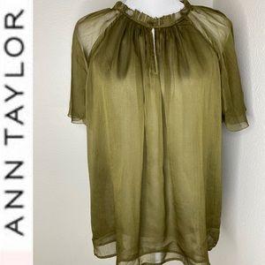 New ANN TAYLOR Romantic Silk Sheer Blouse XL
